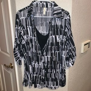 Cute collared black and white blouse size 3x